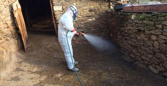 Demirci'de enfeksiyona karşı ilaçlama yapılıyor