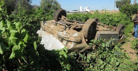 Kontrolden çıkan araç üzüm bağına uçtu 6 yaralı