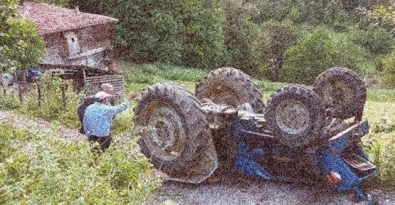 Traktörün altında kalıp can verdi