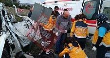 Baraj yolunda kaza 2 kişi yaralandı