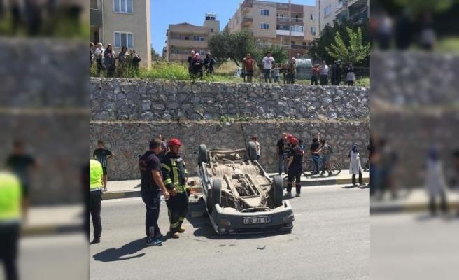 İstinat duvarını aşıp bir alt caddeye düştü 1 ağır yaralı