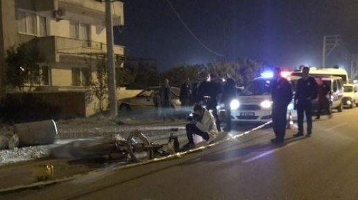 Çöp bidonuna çarpan motosikletin sürücüsü hayatını kaybetti