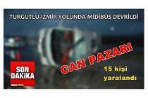 Midibüs devrildi 15 kişi yaralandı