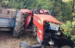 Traktör uçuruma yuvarlandı takla attı 1 kişi ağır yaralandı