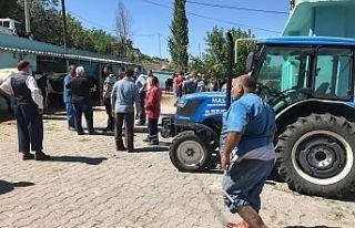 Demirci Mezbahasında sıra kavgası çıktı polis...
