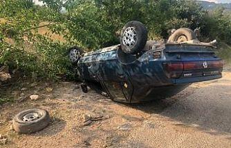 Yolda takla attı 1 kişi yaralandı