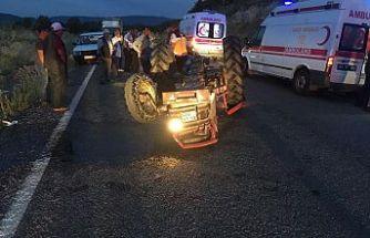 Römorklu traktöre arkadan çarptı 5 kişi yaralandı