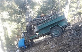 Çapa Motoruyla uçuruma yuvarlanan karı koca ağır yaralandı