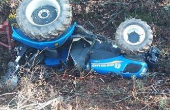 Traktör uçuruma yuvarlandı 1 kişi ağır yaralandı