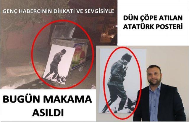 Dün Çöpe Atılan Atatürk Tablosu, bugün makama asıldı